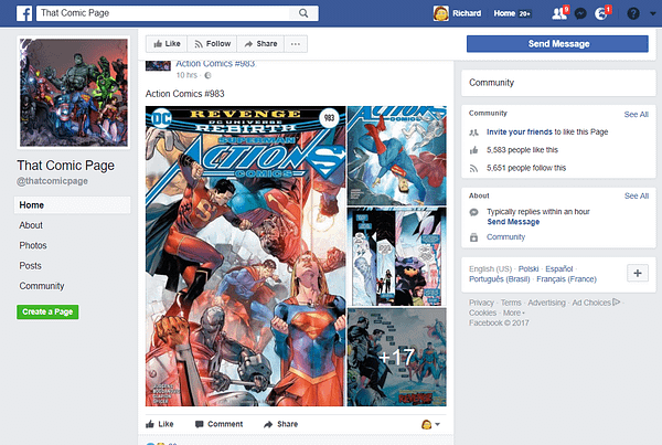 'That Comic Page' On Facebook Should Be A Fairly Easy Comic Book Piracy Takedown