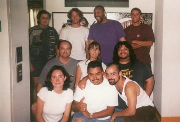 The Comicraftcrew,circa 1998: Dave, Kolja, Jason, Emerson, Rich, Saida, Albert, Siobhan, Oscar &Eddie. MIA: JG, Jimmy & Wes