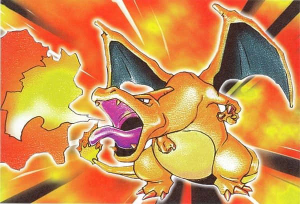 The artwork for the original Charizard card from the Pokémon Trading Card Game. Illustrated by Mitsuhiro Arita.