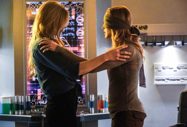 Jes Macallan as Ava Sharpe and Caity Lotz as Sara Lance/White Canary on DC's Legends of Tomorrow, courtesy of The CW.