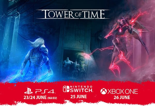 Key art for Digerati and Event Horizon's indie game Tower of Time, along with its launch dates for consoles.