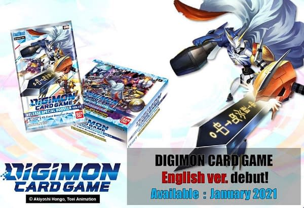 An official announcement heralding the launch of the Digimon Card Game in English.