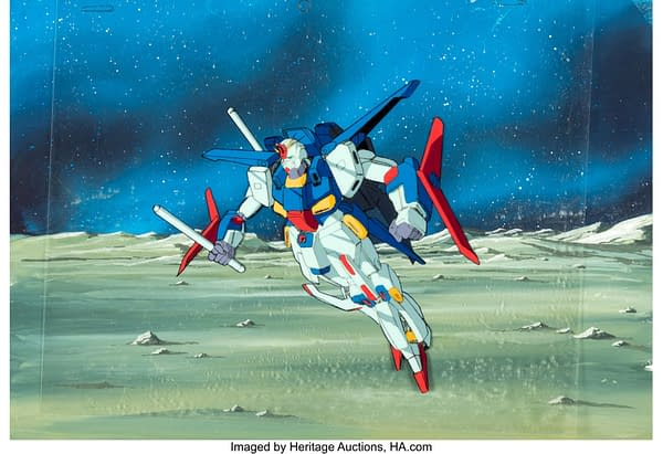 The 1986-87 production cel from the anime series Mobile Suit Gundam ZZ. This item depicts a large fighting Gundam mech and is currently being auctioned at Heritage Auctions.
