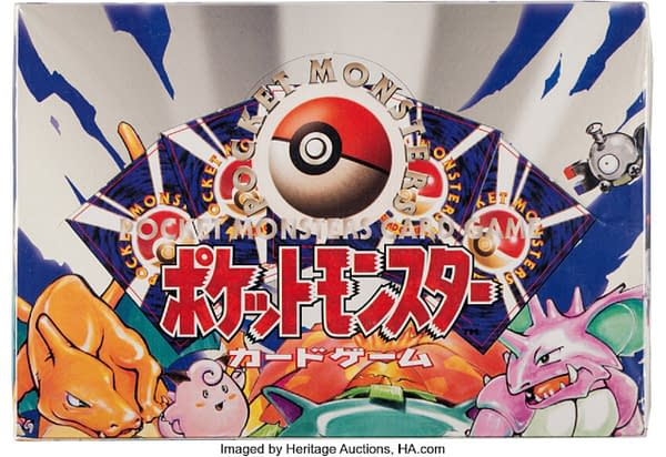 The front lid of the Japanese booster box of Base Set Pokémon TCG cards, currently being auctioned off at Heritage Auctions.