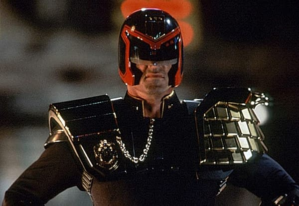 Sylvester Stallone as Judge Dredd (Image: Screen Cap)
