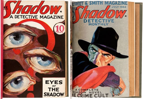 Cover examples from William B. Gibson's bound volumes of the first two years of The Shadow.