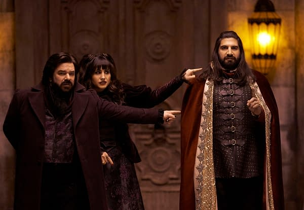 Laszlo and Nadja don't hesitate to put it all on Nandor in What We Do in the Shadows, courtesy of FX.