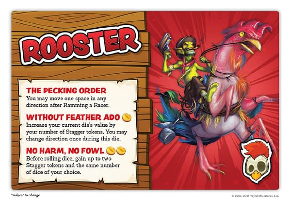 The Rooster card from Wyrd Miniatures' silly Gremlin racing game, Bayou Bash. Image attributed to Wyrd and used with permission.