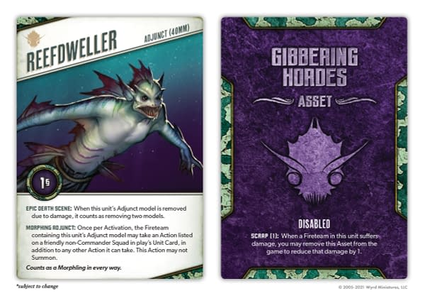 The Reefdweller Nightmare Edition card for the Morphling, a model from The Other Side by Wyrd Games.