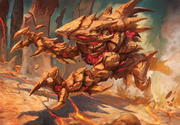 The artwork for Geode Rager, a new card from the Land's Wrath Commander deckfor Magic: The Gathering. Illustrated by Caio Monteiro.