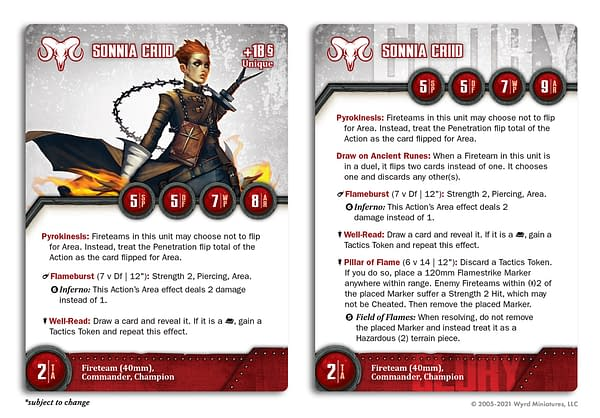The stat card from The Other Side for Sonnia Criid, a character belonging to Wyrd Miniatures.