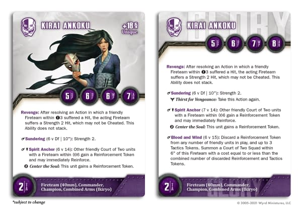 The stat card for Kirai Ankoku, Envoy of the Court, for Wyrd Miniatures' wargame The Other Side.