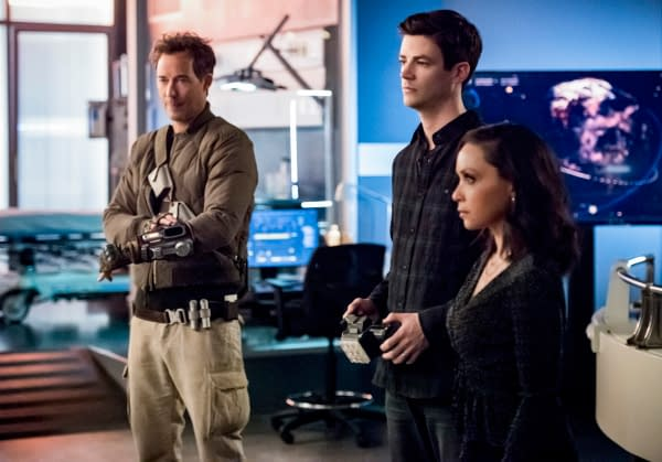 The Flash stars Tom Cavanagh as Nash Wells, Grant Gustin as Barry Allen, and Danielle Nicolet as Cecile Horton, courtesy of The CW.