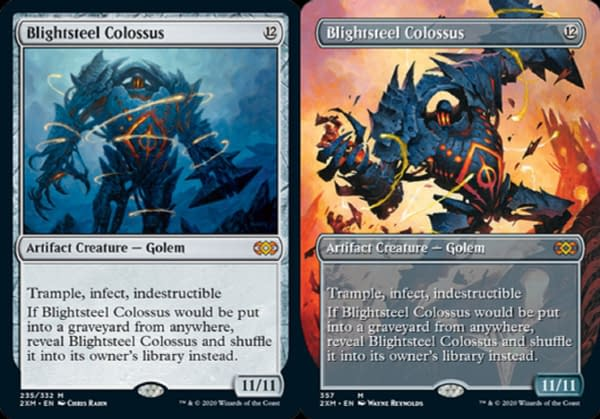 Two versions of Blightsteel Colossus, another card from Double Masters.