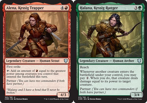 Alena, Kessig Trapper and Halana, Kessig Ranger, two new cards with Partner from Commander Legends, an upcoming expansion set for Magic: The Gathering.