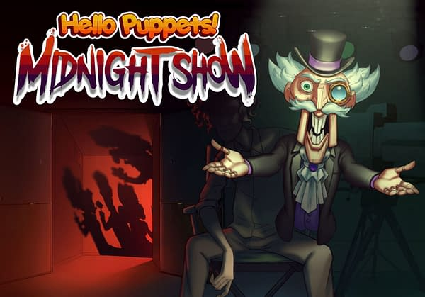The key art and logo for tinyBuild's upcoming game, Hello Puppets! Midnight Show, the prequel to Hello Puppets VR.