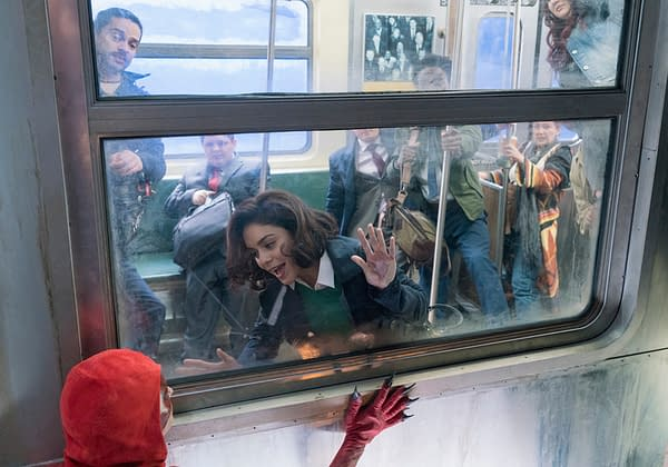POWERLESS -- Pilot -- Pictured: (l-r) Atlin Mitchell as Crimson Fox, Vanessa Hudgens as Emily -- (Photo by: Chris Large/NBC)
