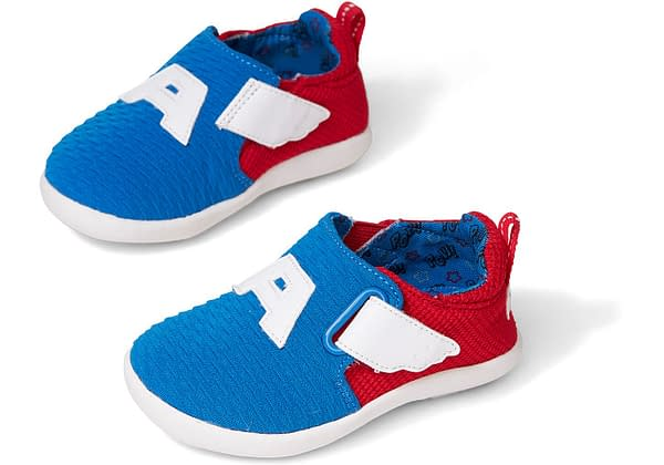 Marvel X TOMS Captain America youth shoes.