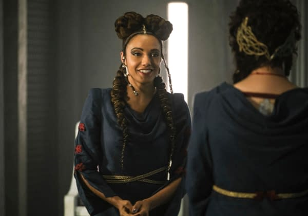 "Legends of Tomorrow -- ""Swan Thong"" -- Image Number: LGN515b_0003b.jpg -- Pictured: Maisie Richardson-Sellers as Charlie -- Photo: Bettina Strauss/The CW -- © 2020 The CW Network, LLC. All Rights Reserved."