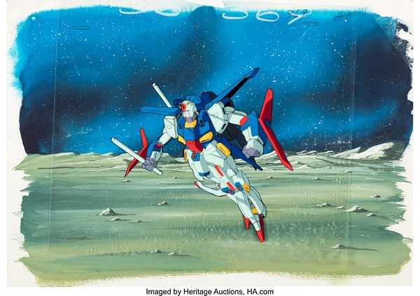 A more full view of the production cel from Mobile Suit Gundam ZZ. This item is currently up for auction at Heritage Auctions.