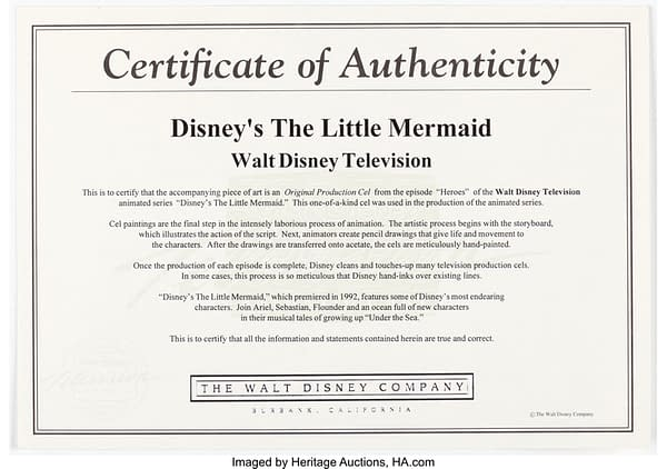 Production Cel Certificate of Authenticity. Credit: Heritage