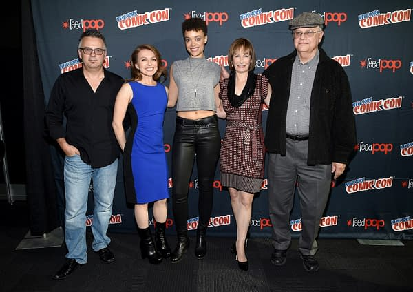 """NEW YORK COMIC CON -- """"Hunters Press Room"""" -- Pictured: (l-r) Justin Dix, Prosthetics Creator; Natalie Chaidez, Executive Producer; Britne Oldford, Gale Anne Hurd, Executive Producer, Whitley Strieber -- (Photo by: Mike Coppola/NBC)"""