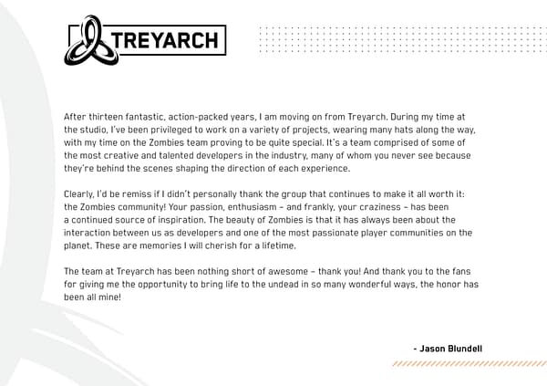 """Jason Blundell, Creator Of """"Call Of Duty"""" Zombies, Had Left Treyarch"""