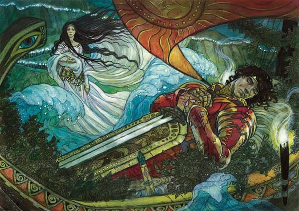 The artwork for Path to Exile, a card from a promotional release for Magic: The Gathering, originally from the Conflux expansion set. Here, illustrated by Rebecca Guay.