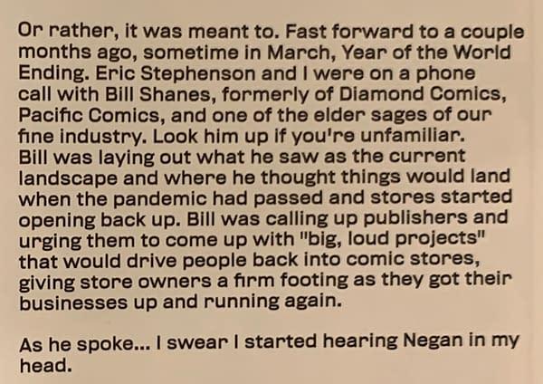 How Bill Schanes Inspired The Return Of Negan in The Walking Dead
