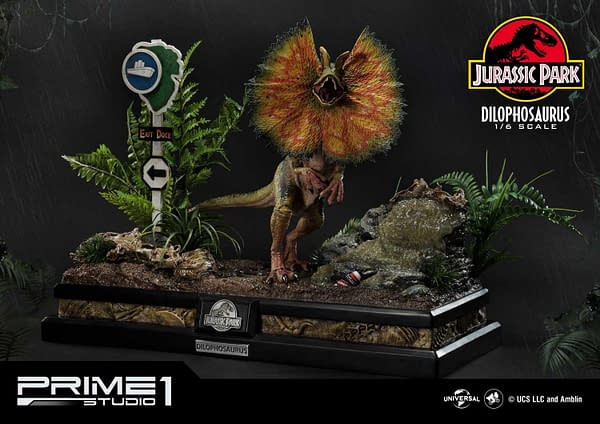 Jurassic Park Dilophosaurus Gets a Deadly Statue with Prime 1 Studio