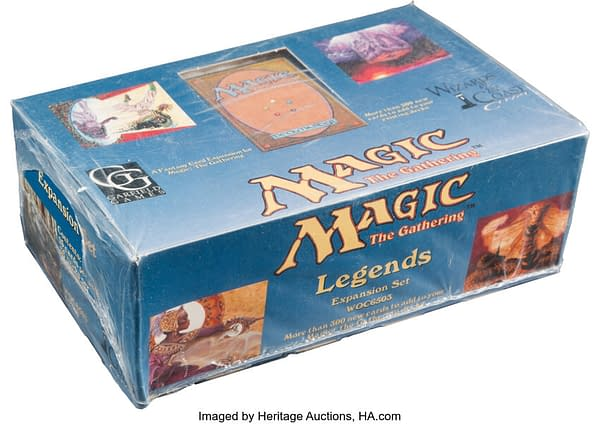 A tilted photograph of the Legends from Magic: The Gathering recall box which is currently up for auction at Heritage Auctions.