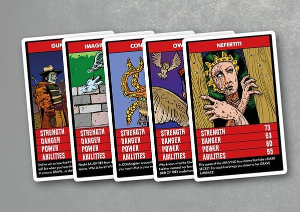 Five of the cards from Terror Trumps, a game that has been funded on Kickstarter with two days still to go.
