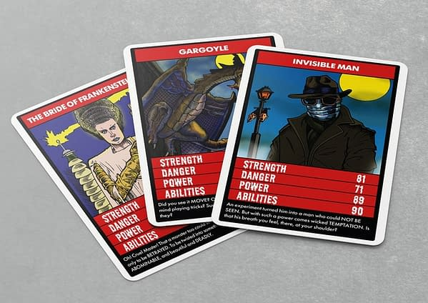 A spread of three more cards from the Terror Trumps card game, available now to back on Kickstarter.
