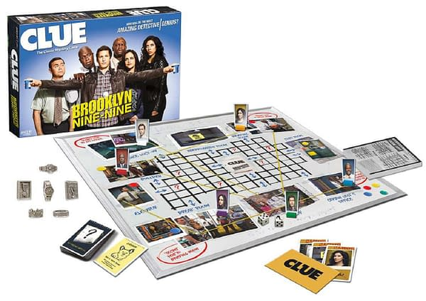 A look at the game and pieces for Clue: Brooklyn Nine-Nine, courtesy of The Op.