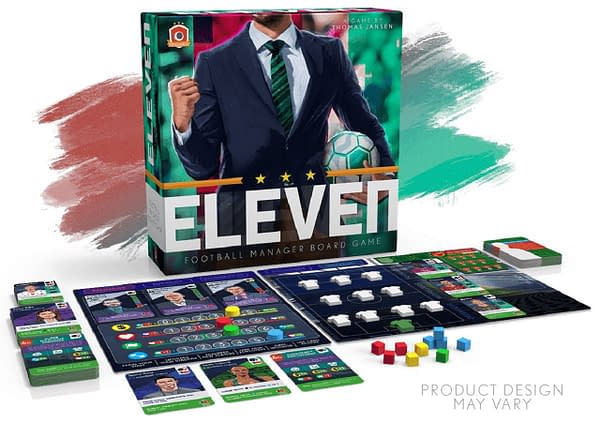 A tentative array of the contents to potentially be found in the Eleven: Football Manager Board Game by Portal Games. This game is nearly at the crowdfunding stage on Gamefound.