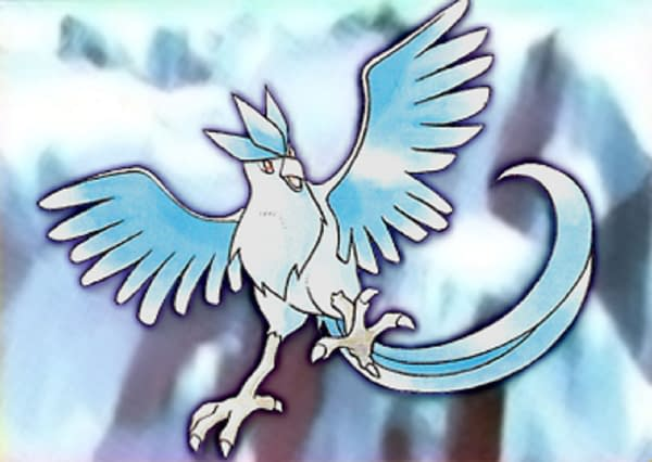 Artwork featuring Articuno from the Pokémon Trading Card Game. This art has been used for various Pokémon cards, including the one up for auction at Heritage Auctions. Illustrated by Ken Sugimori.
