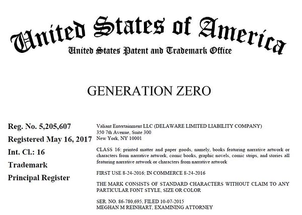 Will Valiant Sue DC Comics Over Generation Zero Trademark?