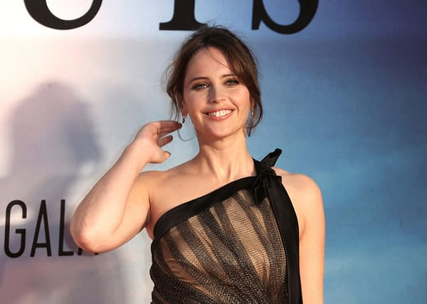 """Felicity Jones attends """"The Aeronauts"""" UK Premiere at the Odeon Luxe Leicester Square in London, England. Editorial credit: Cubankite / Shutterstock.com"""