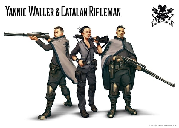 Three of the four characters in the Malifaux Outcast Starter Box: Yannic Waller and two Catalan Riflemen (not shown: the Catalan Brawler discussed last week). Art attributed to Wyrd Miniatures.