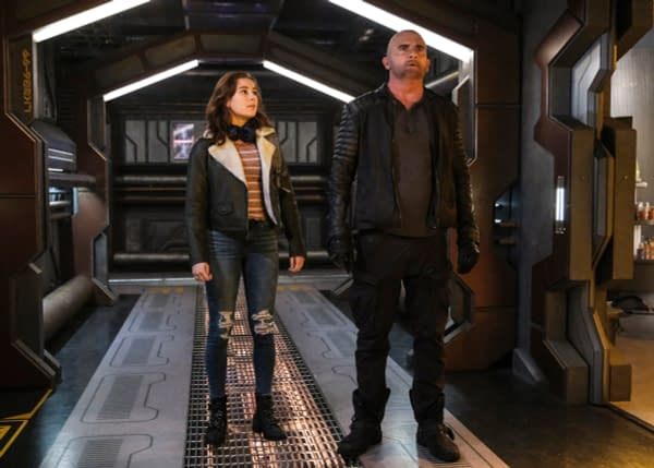 Mina Sundwall as Lita and Dominic Purcell as Mick Rory/Heatwave on DC's Legends of Tomorrow, courtesy of The CW.