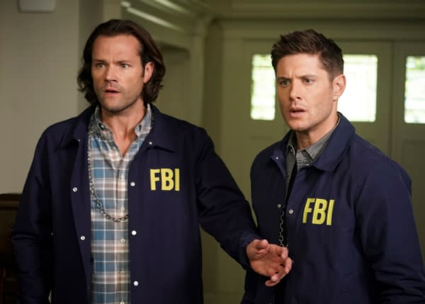 """Supernatural -- """"Raising Hell"""" -- Image Number: SN1503A_0100b.jpg -- Pictured (L-R): Jared Padalecki as Sam and Jensen Ackles as Dean -- Photo: Colin Bentley/The CW -- © 2019 The CW Network, LLC. All Rights Reserved."""