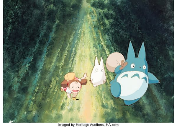 The production cel from Studio Ghibli's iconic anime film My Neighbor Totoro. This cel is currently available at Heritage Auctions' website.