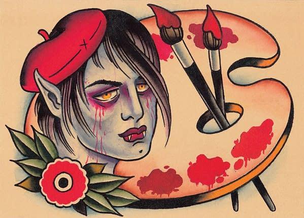 "The full artwork for Blood Artist, illustrated by Josh Howard for Magic: The Gathering's ""Full Sleeves"" Secret Lair drop."