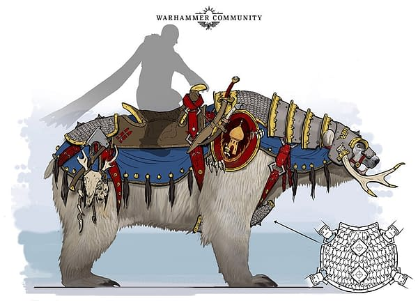 A concept artist's vision of a nondescript Kislevite upon a bear mount, from Warhammer: The Old World.