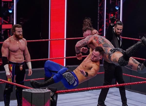 Austin Theory proves himself to Seth Rollins on RAW, courtesy of WWE.