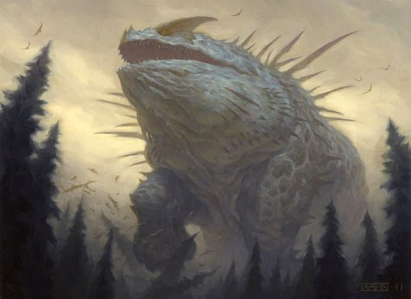 The artwork for Craterhoof Behemoth, a reprinted card from Jumpstart, an upcoming Limited-style expansion set for Magic: The Gathering. Illustrated by Chris Rahn.