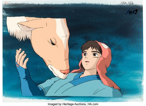 A clearer and more full view of the production cel from Studio Ghibli's masterful film Princess Mononoke (1997), in which Prince Ashitaka is awakened by his steed Yakul. This cel is now up for auction at Heritage Auctions.