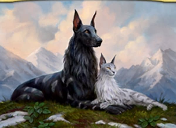 The artwork of Rin and Seri, Inseparable, a new Buy-A-Box promo card from Core 2021, an upcoming set for Magic: the Gathering. Illustrated by Leesha Hannigan.