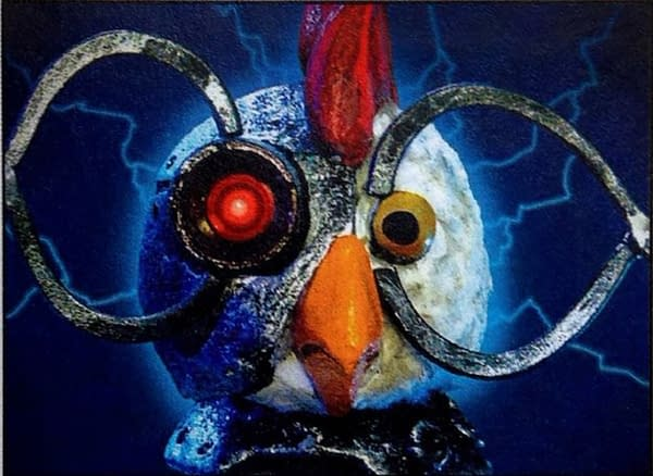 The full art for the Robot Chicken commemorative Magic: The Gathering card made by Wizards of the Coast to celebrate the work of the Robot Chicken team for their help during PT San Diego 2010. Image created by Robot Chicken.