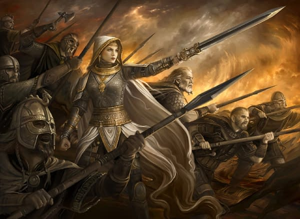 The updated artwork for Crusade, a Magic: The Gathering card that has been banned game-wide for its offensive connotations between mechanics and lore.